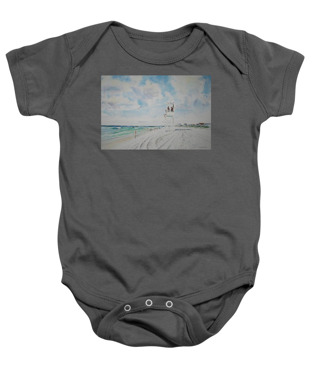Ocean Baby Onesie featuring the painting Waiting For The Lifeguard by Tom Harris