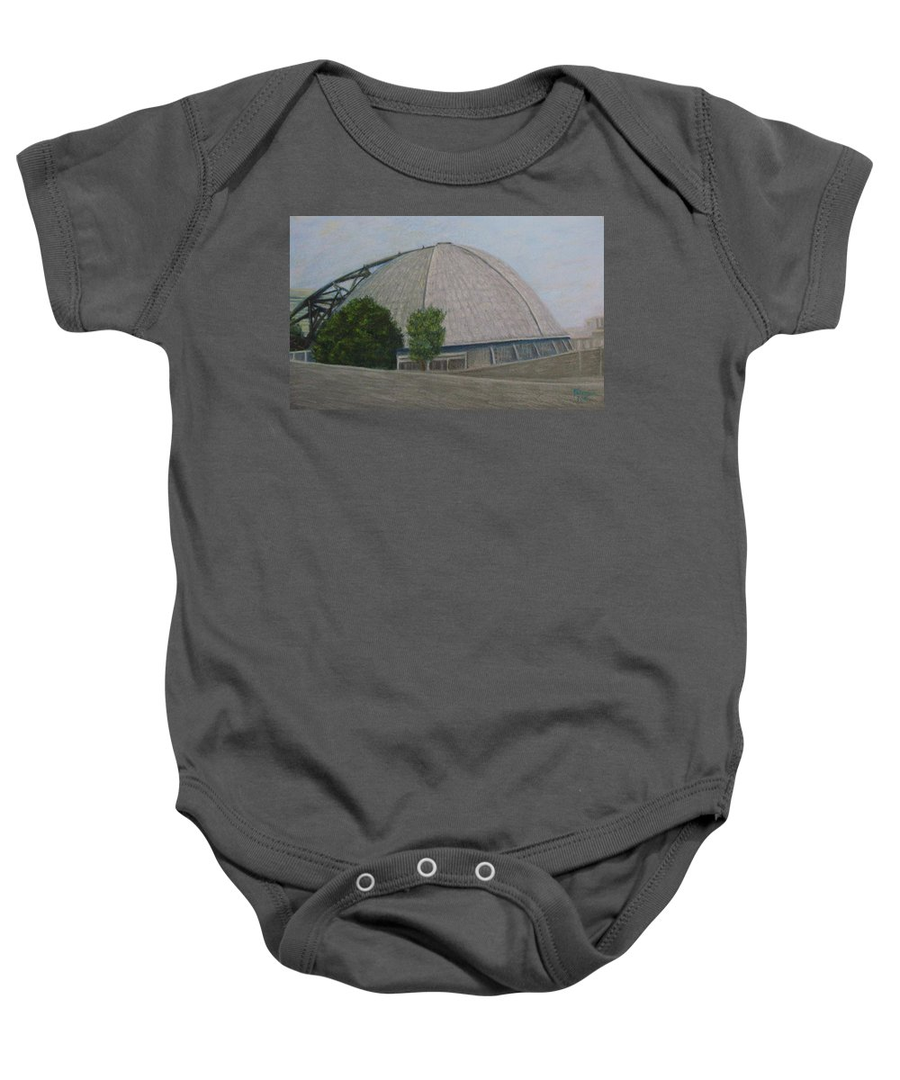Pittsburgh Baby Onesie featuring the pastel Waiting For The Next Event Mellon Arena Pittsburgh by Joann Renner