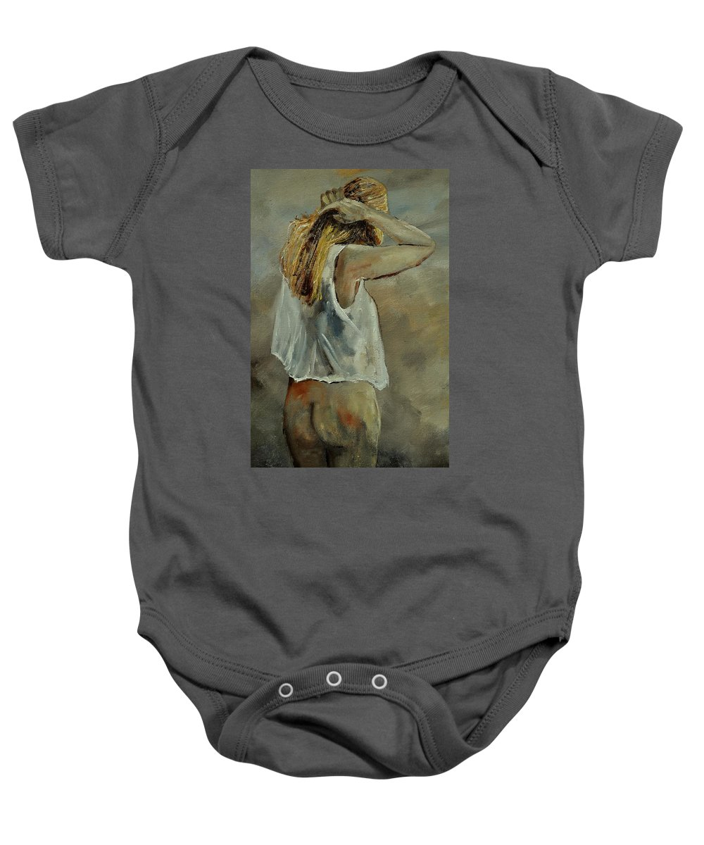 Nude Baby Onesie featuring the painting Wake Up by Pol Ledent