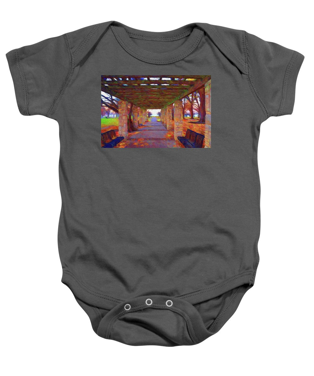 Autumn Baby Onesie featuring the painting Walk In The Park by Jeffrey Kolker