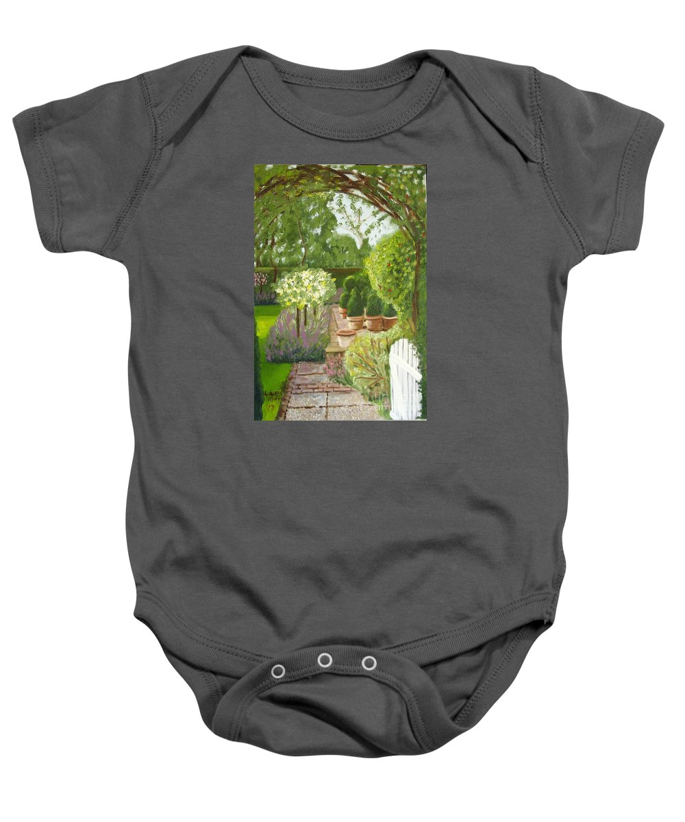 Garden Baby Onesie featuring the painting Walk With Me by Laurie Morgan