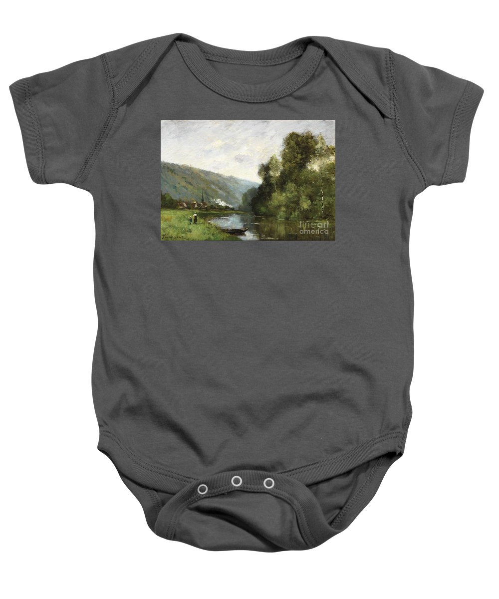 Paul Trouillebert Baby Onesie featuring the painting Walkers Along A River by Celestial Images