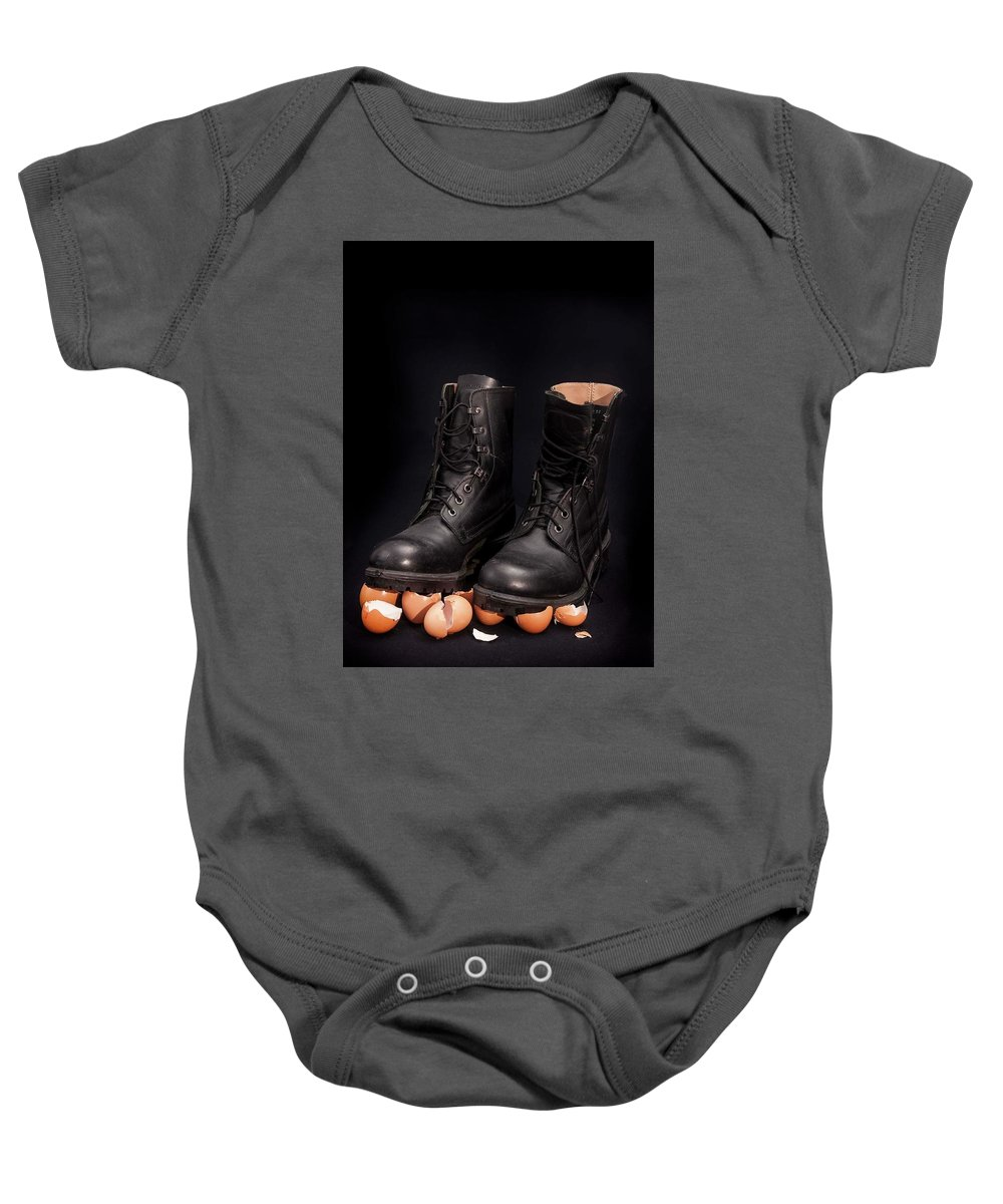 Black Background Baby Onesie featuring the photograph Walking On Eggshells by Peter Hayward Photographer