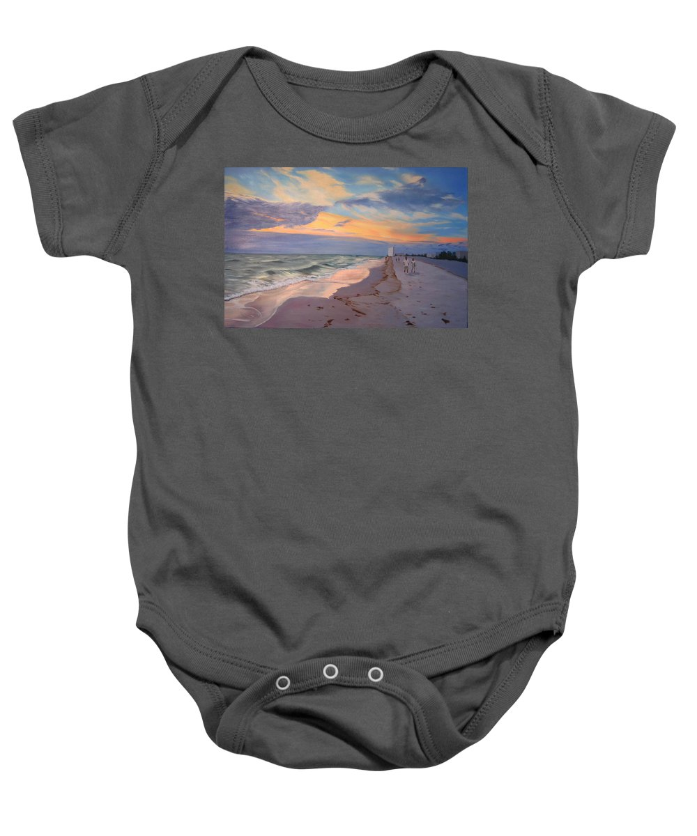 Seascape Baby Onesie featuring the painting Walking On The Beach At Sunset by Lea Novak