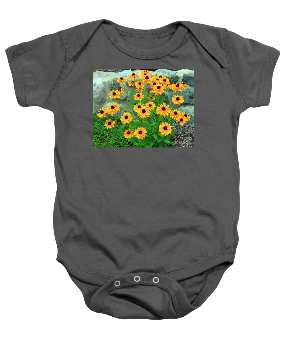 Stone Baby Onesie featuring the photograph Wallflowers by Steve Gass