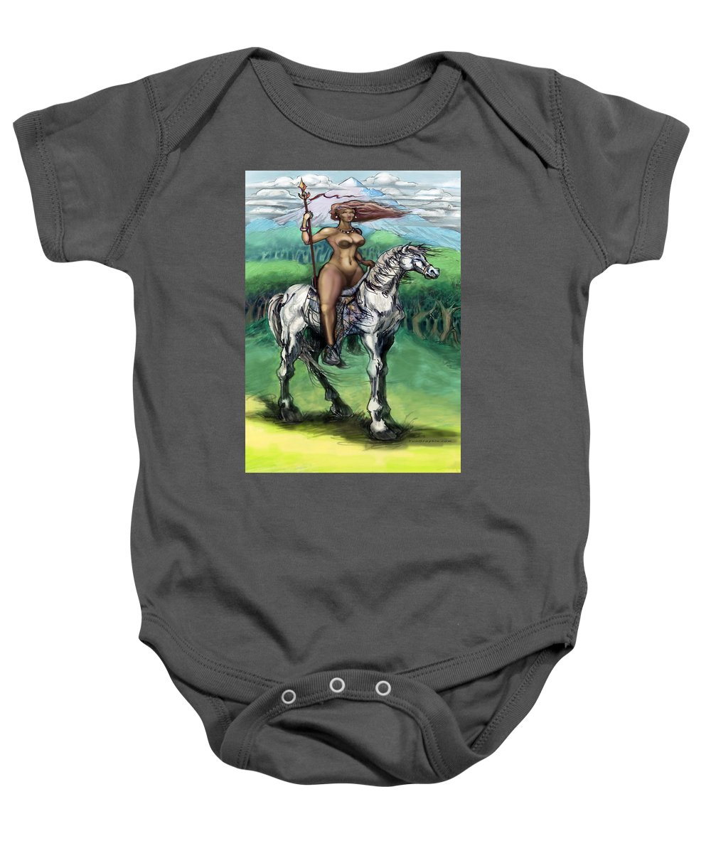 Warrior Baby Onesie featuring the painting Warrior Maiden by Kevin Middleton