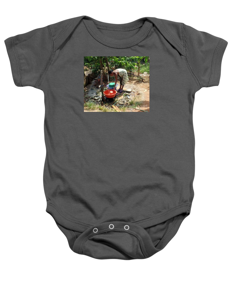 Native Culture Baby Onesie featuring the photograph Wash Time by John Potts