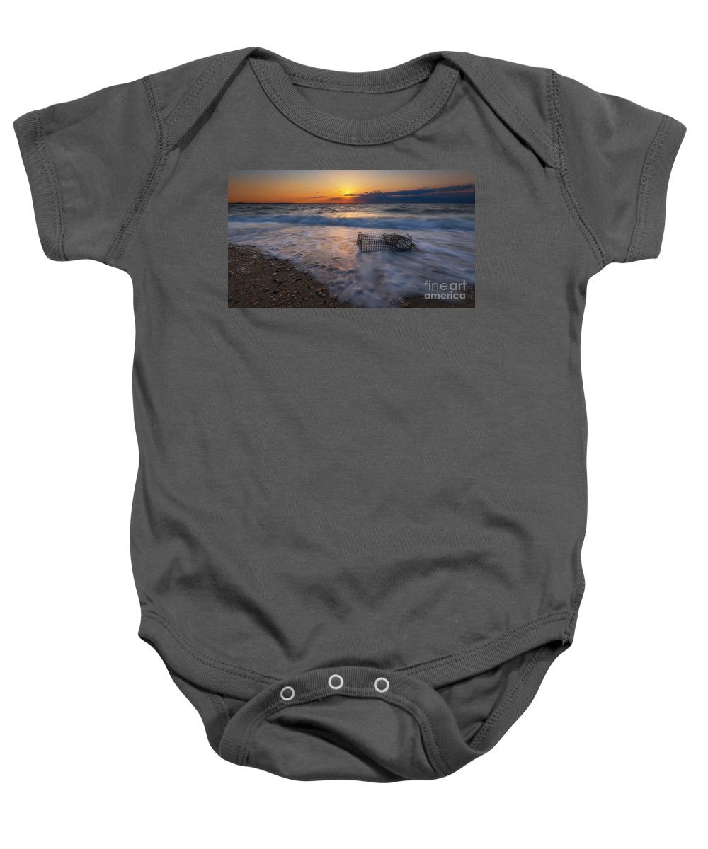 Sandy Hook Baby Onesie featuring the photograph Washed Up Crab Cage 16x9 by Michael Ver Sprill