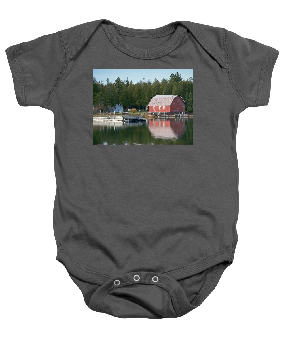 Washington Island Baby Onesie featuring the photograph Washington Island Harbor 6 by Anita Burgermeister