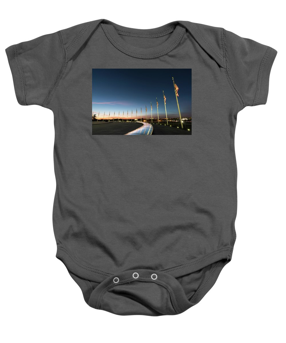 Abraham Lincoln Baby Onesie featuring the photograph Washington Monument Flags by Larry Marshall