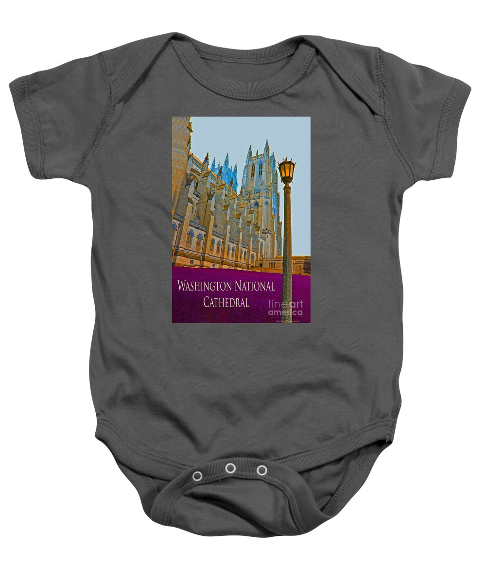 Washington Baby Onesie featuring the photograph Washington National Cathedral Travel by Jost Houk