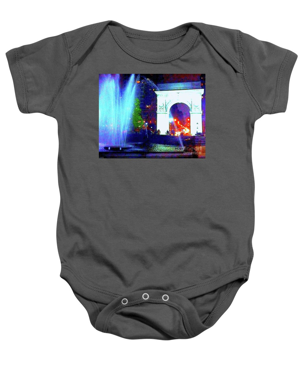 Washington Square Baby Onesie featuring the photograph Washington Square Fountain 13c by Ken Lerner