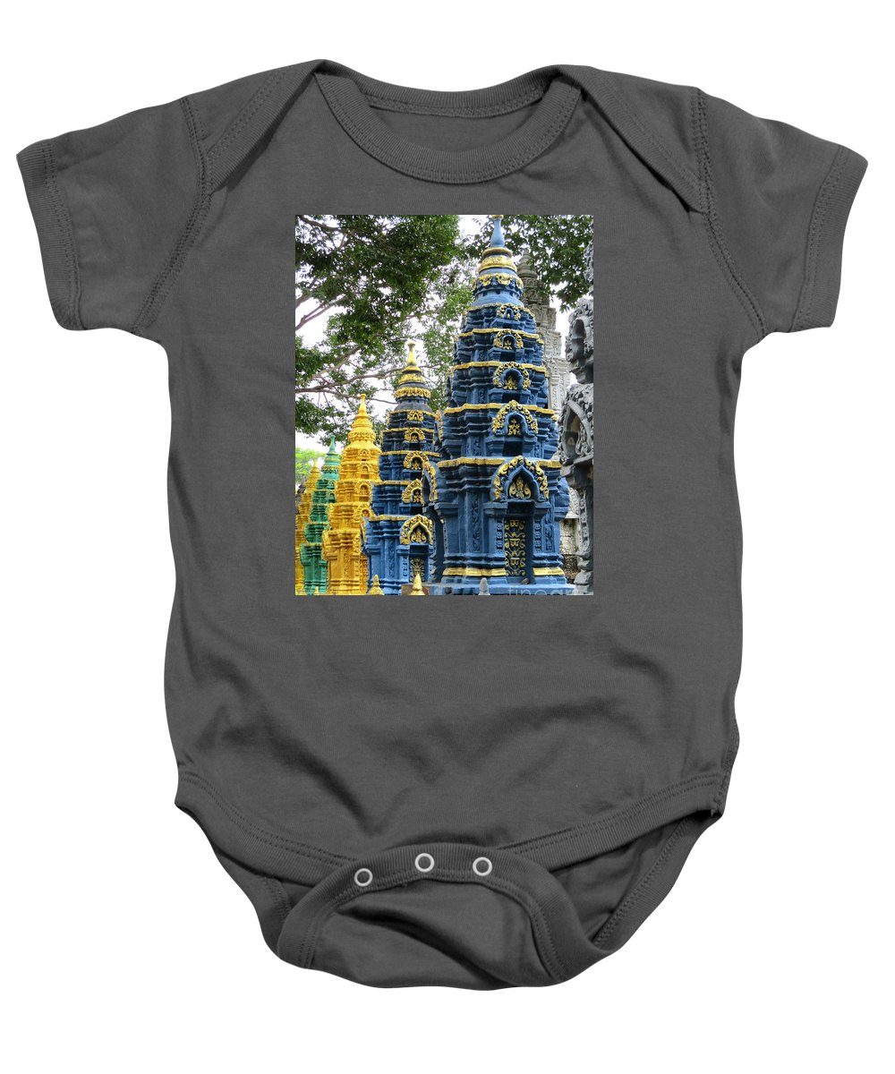 Cambodia Baby Onesie featuring the photograph Wat Krom 39 by Randall Weidner