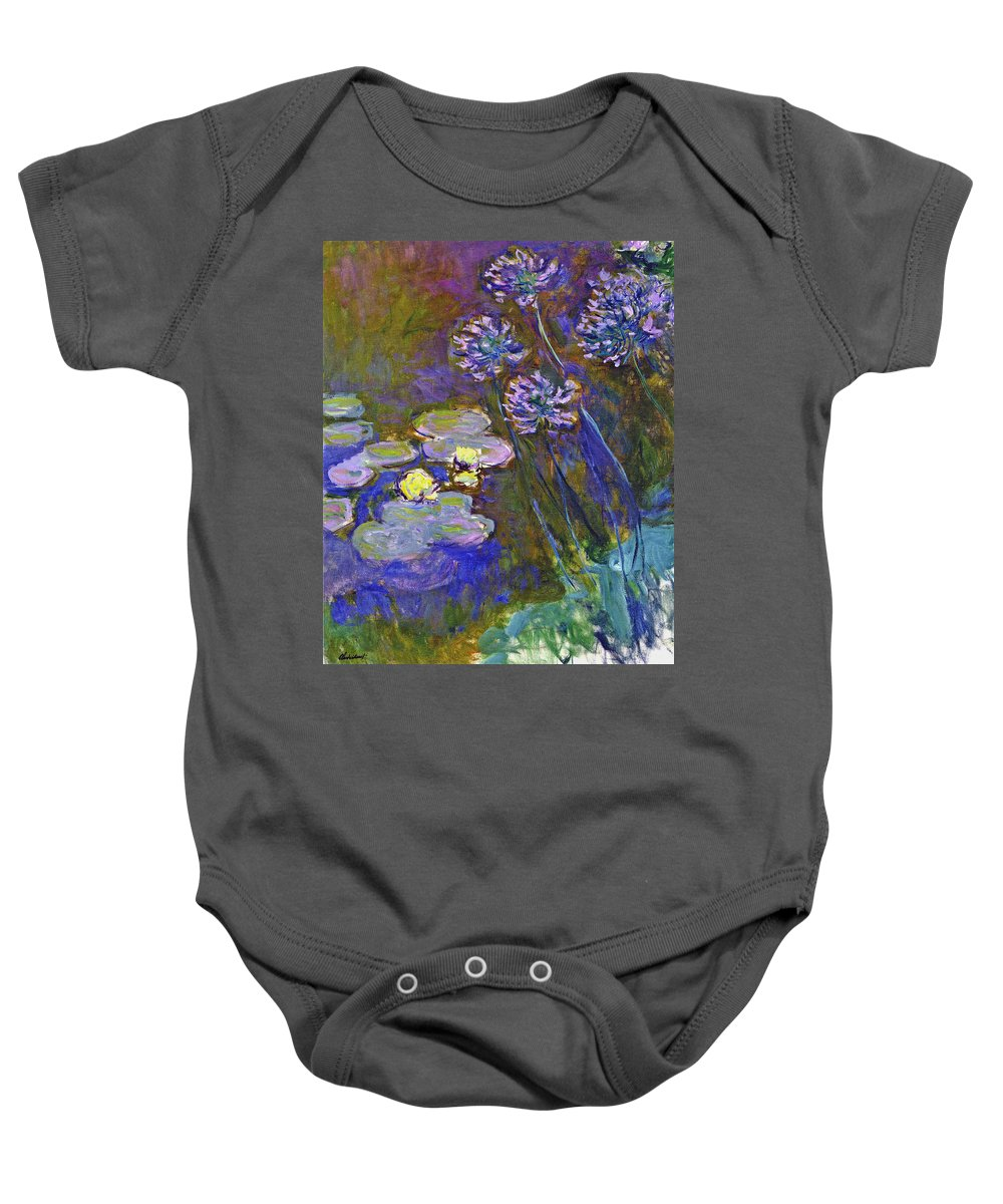 Water Baby Onesie featuring the painting Water Lilies And Agapanthus 1917 by Claude Monet