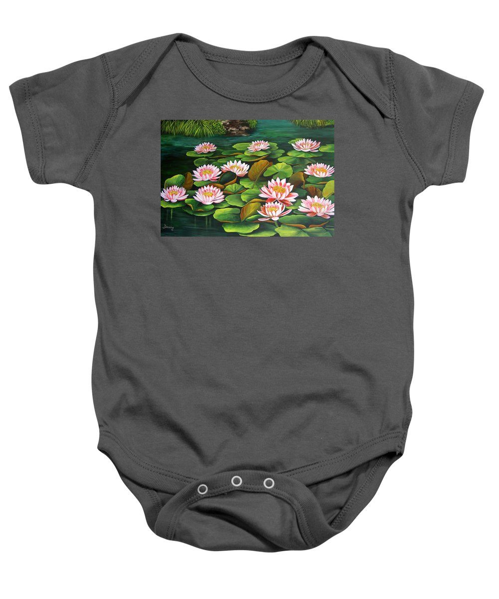 Floral Baby Onesie featuring the painting Water Lilies by Dominica Alcantara
