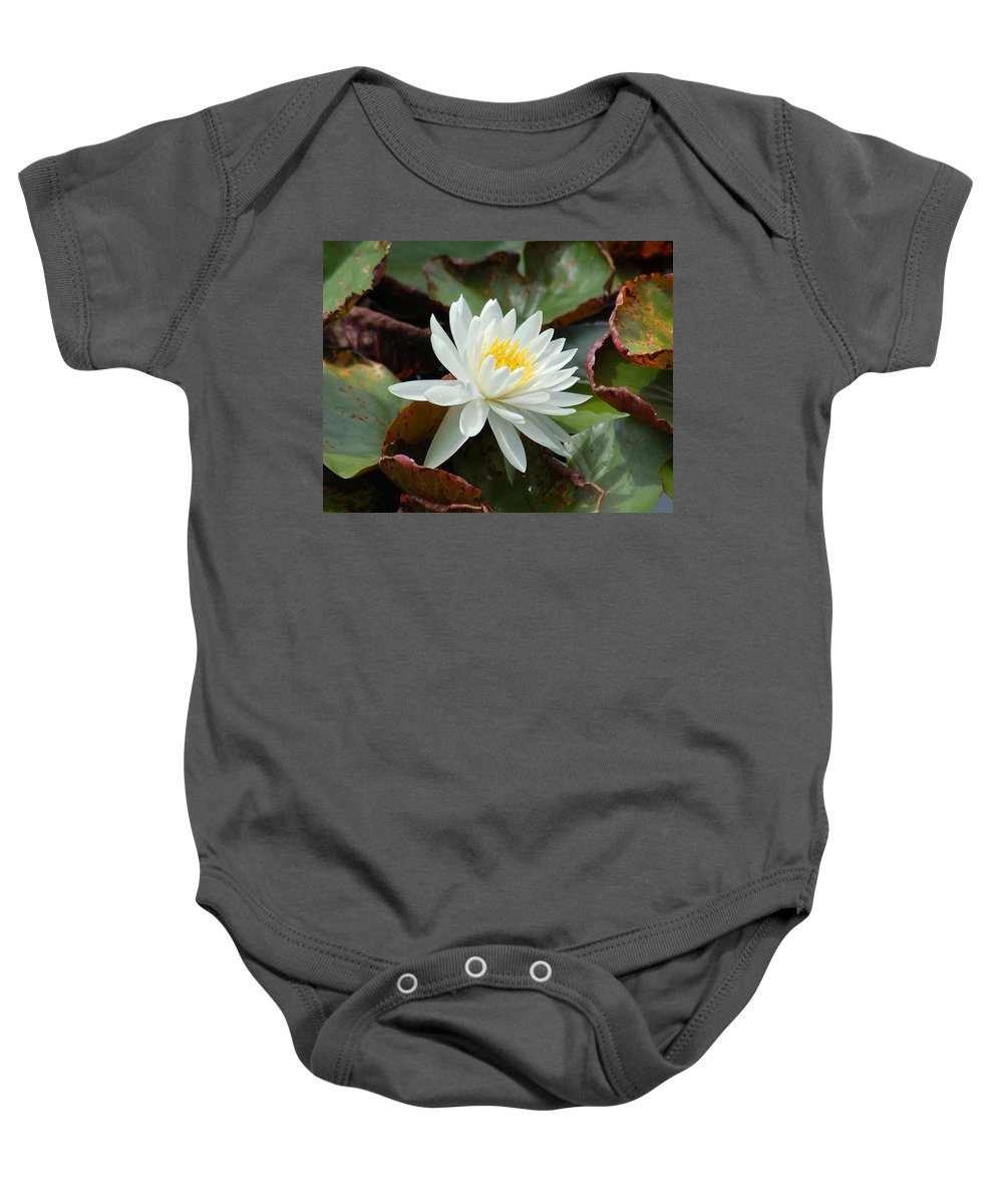 Alabama Baby Onesie featuring the photograph Water Lilly Closeup by Michael Thomas