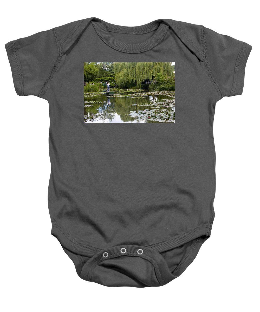 Monet Gardens Giverny France Water Lily Punt Boat Water Willows Baby Onesie featuring the photograph Water Lily Garden Of Monet In Giverny by Sheila Smart Fine Art Photography