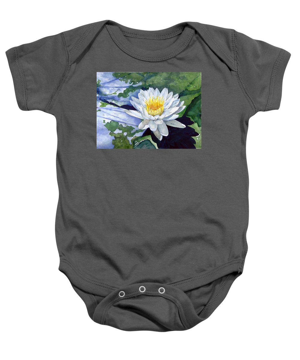 Flower Baby Onesie featuring the painting Water Lily by Sam Sidders