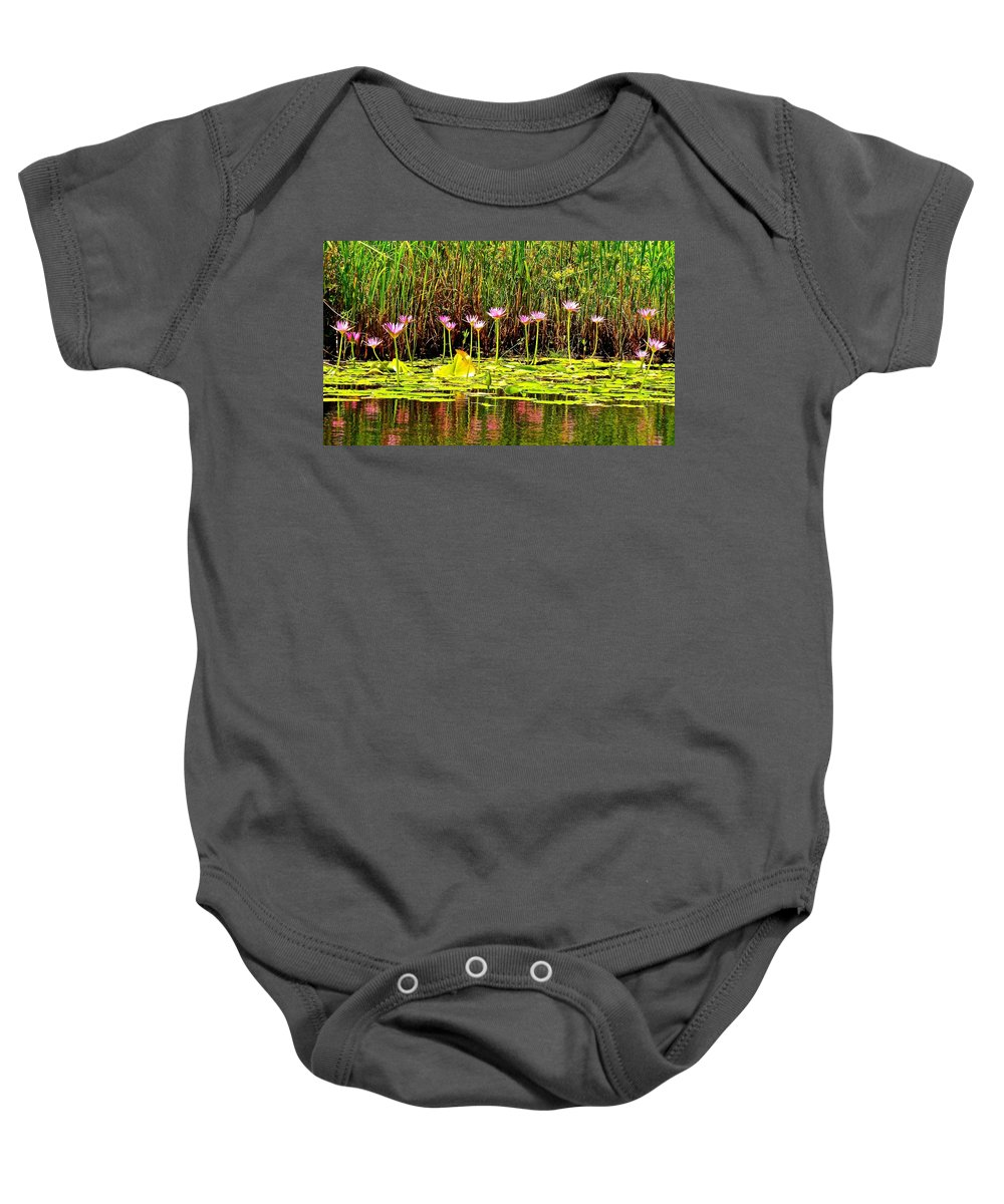 Lotus Baby Onesie featuring the photograph Water Reflecting Pinkish Waterlilies by Joe Wyman