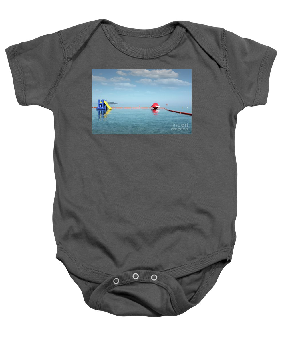 Sithonia Baby Onesie featuring the photograph Water Slide Seascape Summer Vacation Scene by Goce Risteski