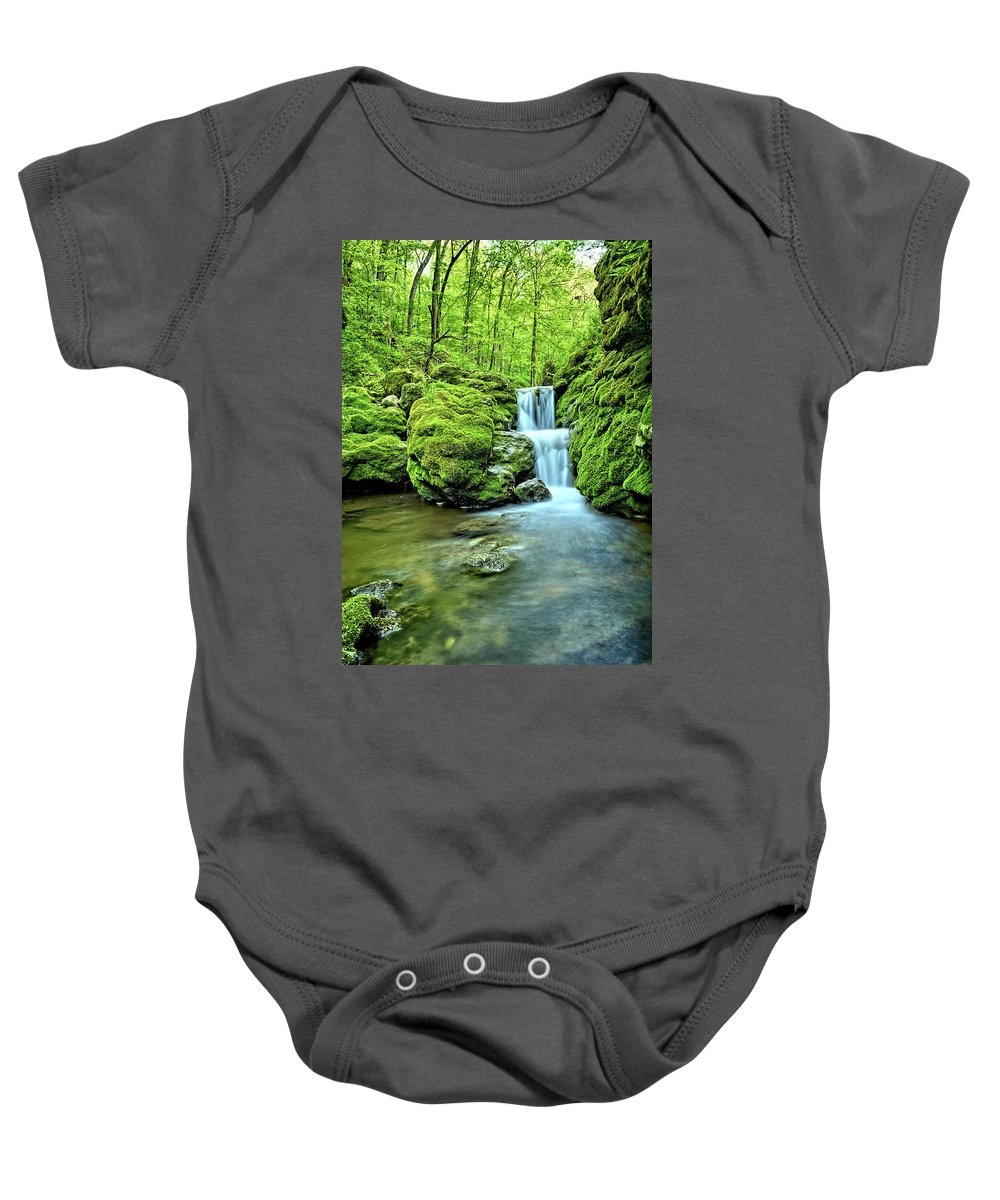 Mossy Baby Onesie featuring the photograph Water Stairs 2 by Bonfire Photography