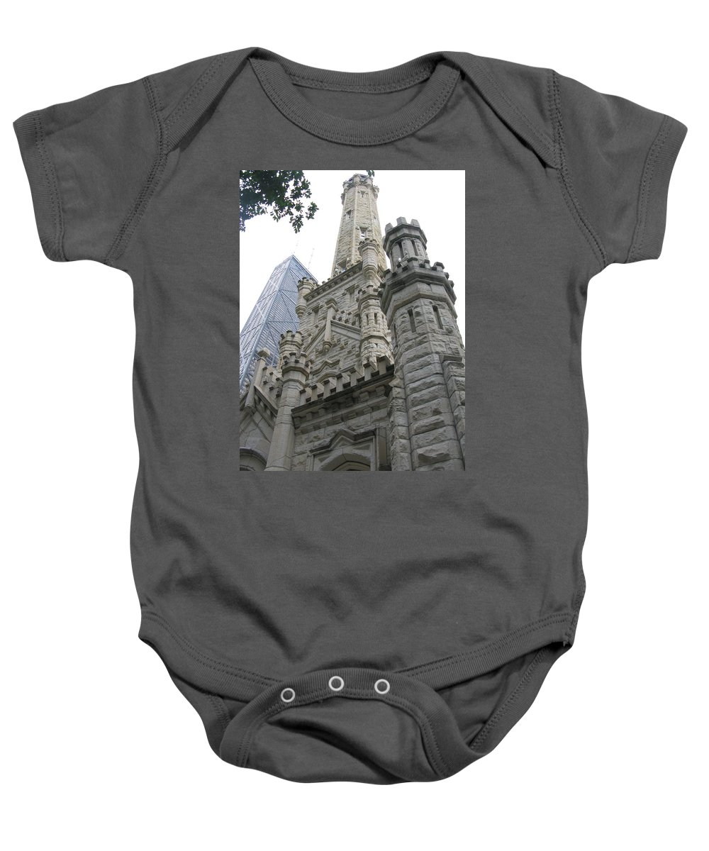 Chicago Baby Onesie featuring the photograph Water Tower And Sears Tower by Brittany Horton