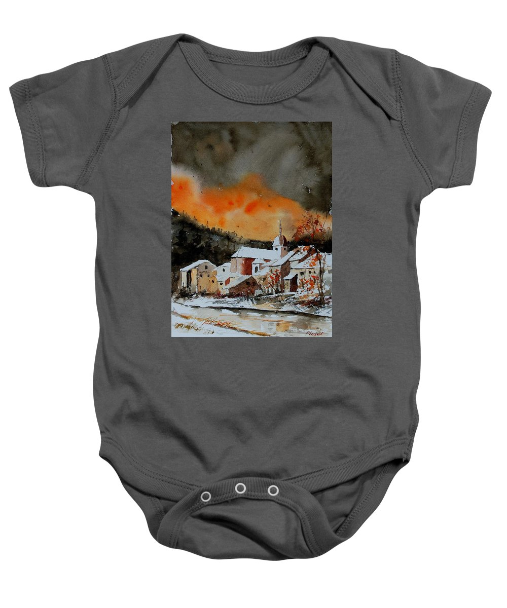 Winter Baby Onesie featuring the painting Watercolor 050707 by Pol Ledent