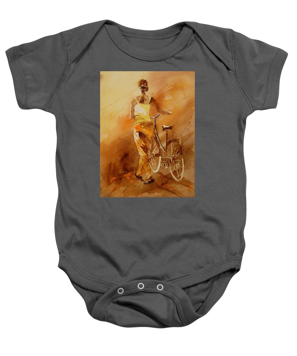Girl Baby Onesie featuring the painting Watercolor 060108 by Pol Ledent