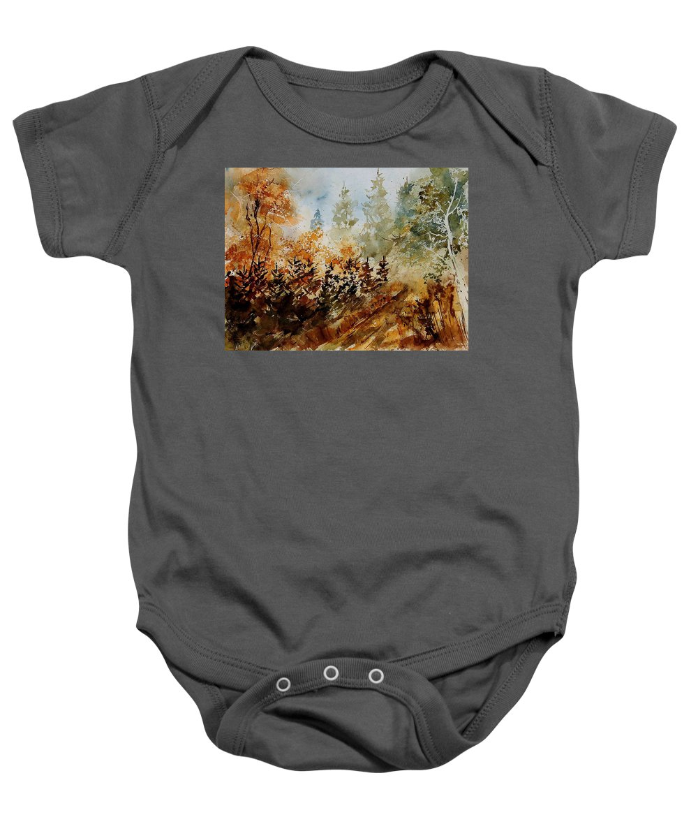 Tree Baby Onesie featuring the painting Watercolor 250607 by Pol Ledent
