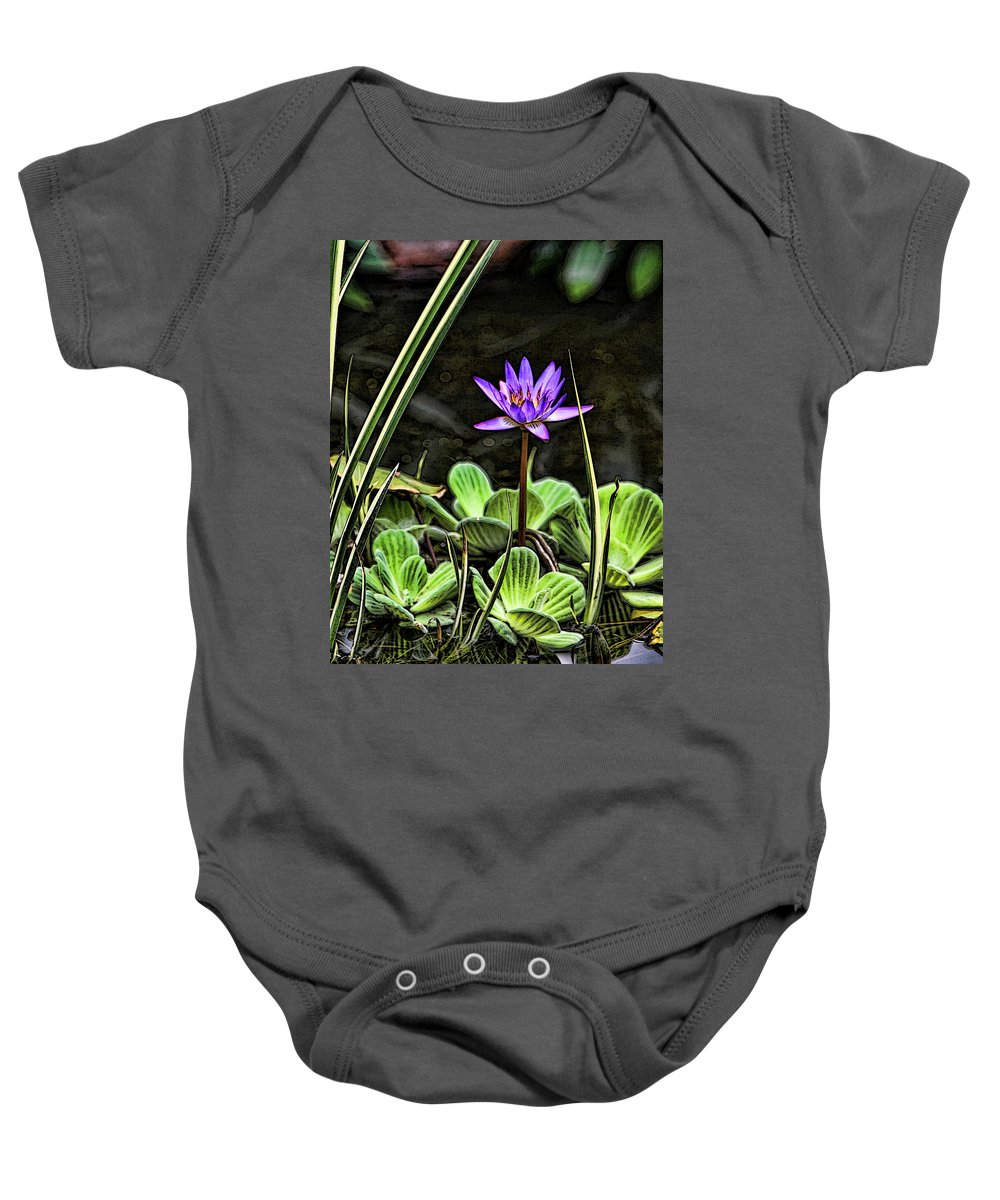 Lily Pond Water Purple Green Garden Baby Onesie featuring the photograph Watercolor Lily by Shari Jardina