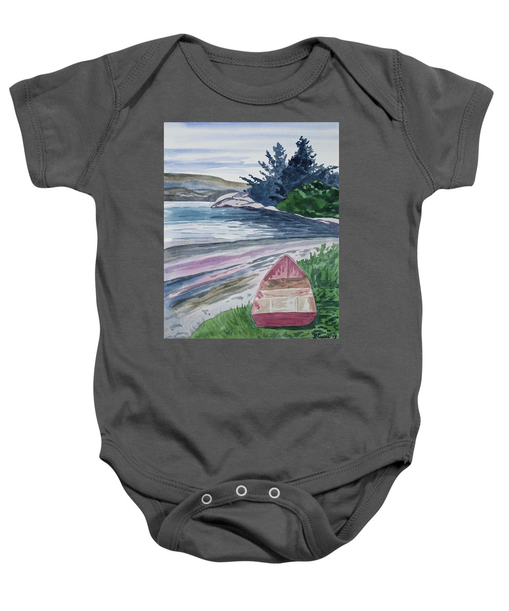 Art Baby Onesie featuring the painting Watercolor - New Zealand Harbor by Cascade Colors