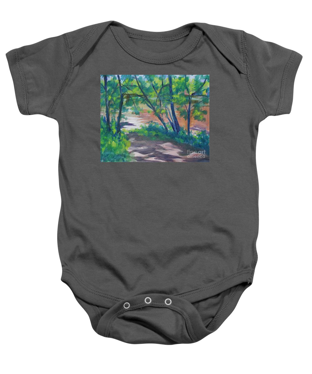 Landscape Baby Onesie featuring the painting Watercress Beach on the Current River  by Jan Bennicoff