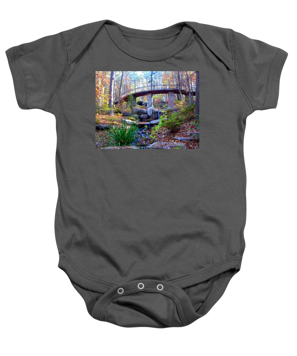 Waterfall Baby Onesie featuring the photograph Waterfall And A Bridge In The Fall by Anne Cameron Cutri