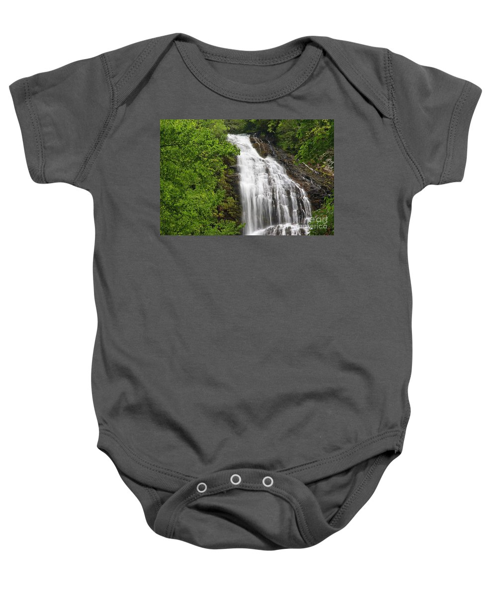 Mingo Baby Onesie featuring the photograph Waterfall Closeup by Jill Lang