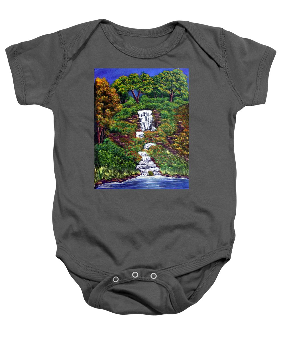 Waterfall Baby Onesie featuring the painting Waterfall by Dawn Blair