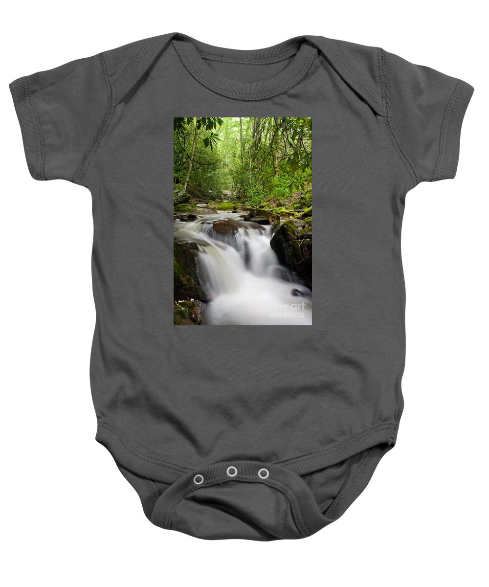 Falls Baby Onesie featuring the photograph Waterfall In The Forest by Jill Lang