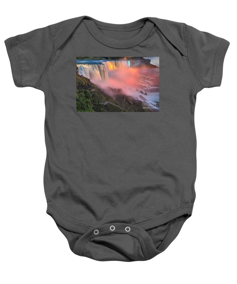Niagara Falls Baby Onesie featuring the photograph Waterfall Night Lights by Adam Jewell