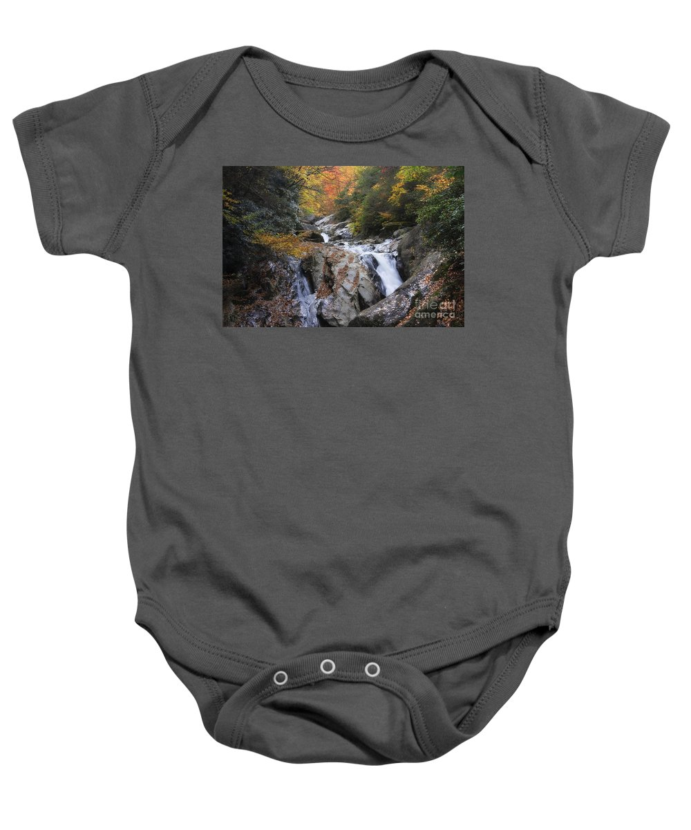 Falls Baby Onesie featuring the photograph Waterfall Off Blue Ridge Parkway by Jill Lang