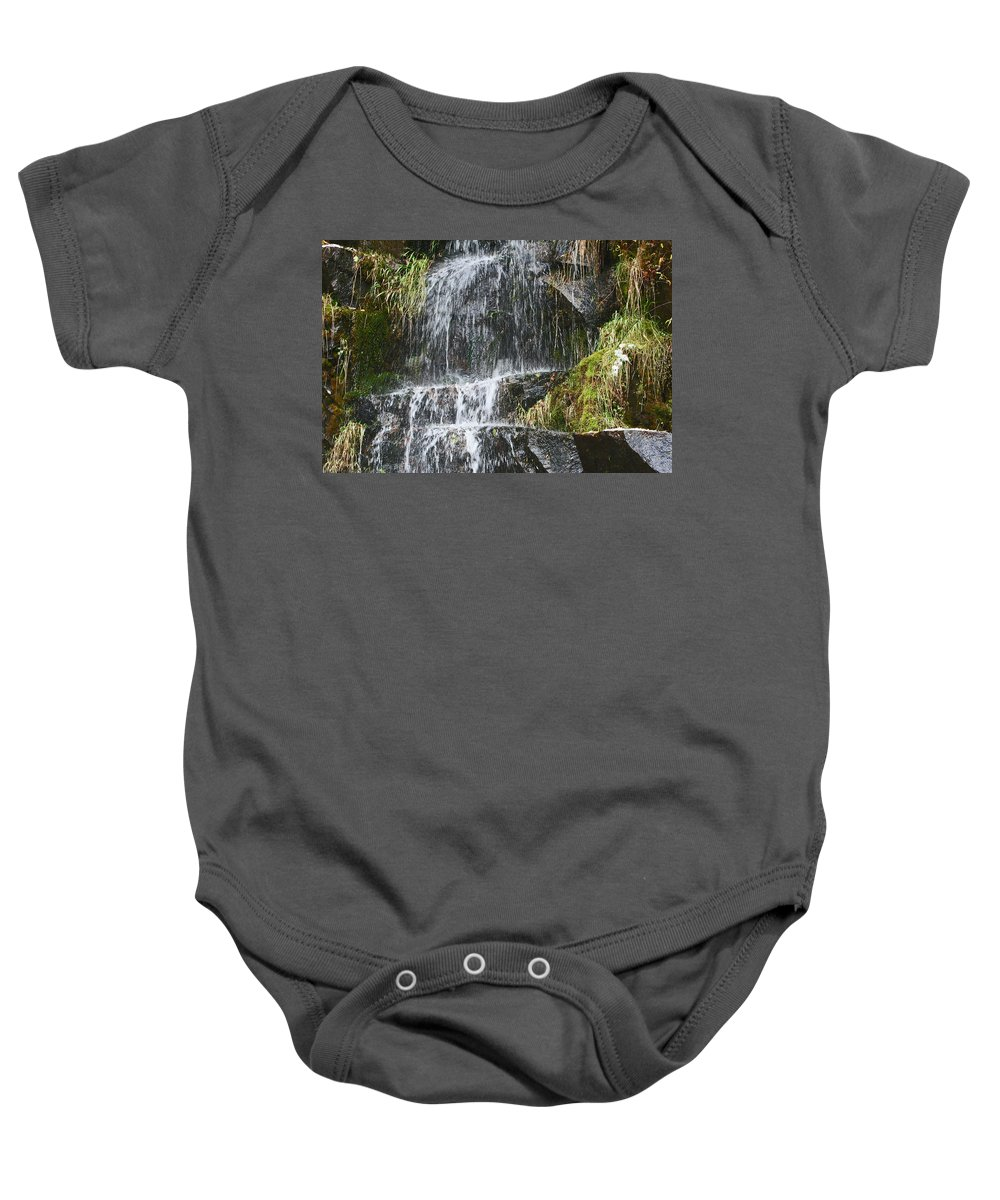 Waterfalls Baby Onesie featuring the photograph Waterfall On Mount Ranier by David Campbell