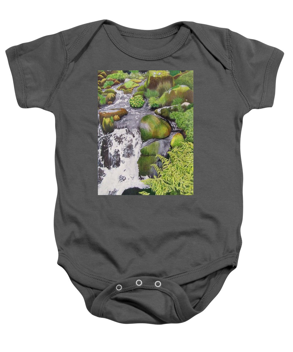 Waterfall Baby Onesie featuring the mixed media Waterfall On Skye by Constance Drescher