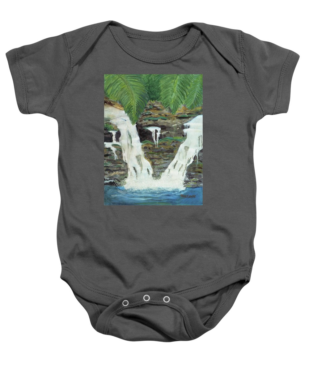 Water Baby Onesie featuring the painting Waterfalls by Terry Lewey