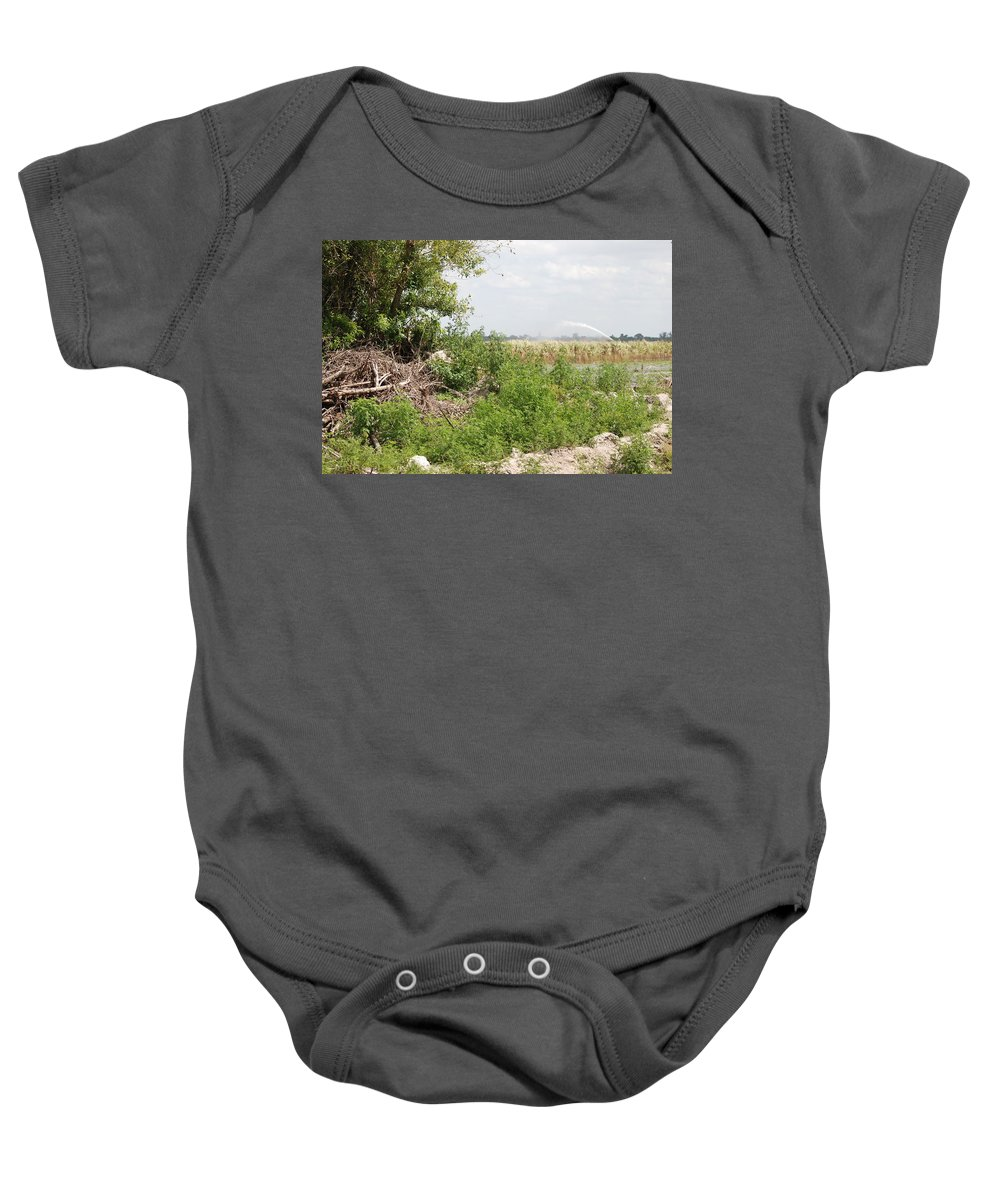 Leaves Baby Onesie featuring the photograph Watering The Weeds by Rob Hans