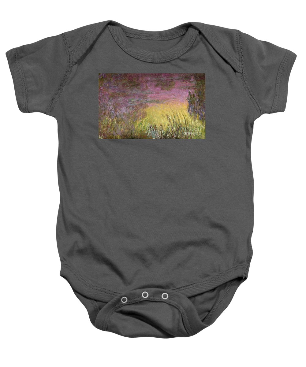 Waterlilies At Sunset Baby Onesie featuring the painting Waterlilies At Sunset by Claude Monet