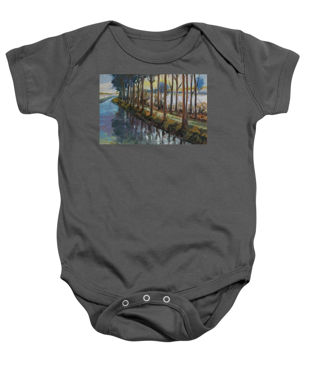 Trees Baby Onesie featuring the painting Waterway by Rick Nederlof