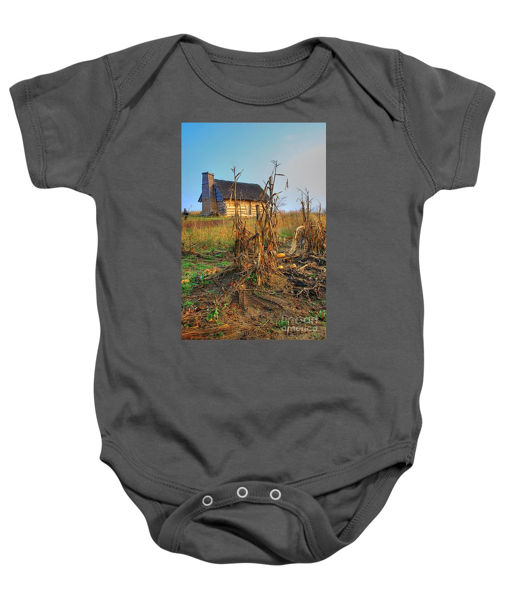 Log Cabin Old Country Harvest Related Tags: Cabin Artwork Baby Onesie featuring the photograph Way Back When by Robert Pearson