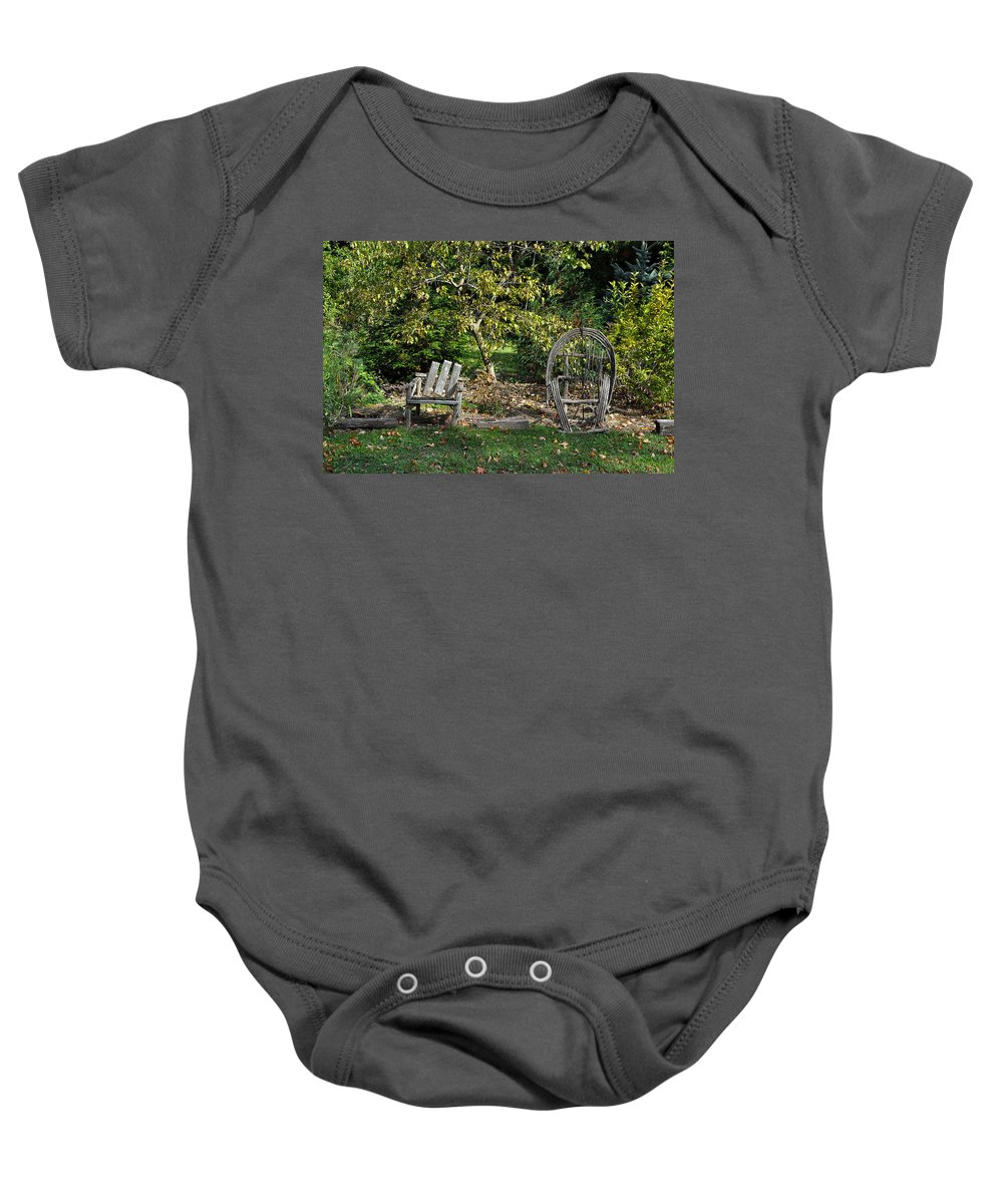 Grass Baby Onesie featuring the photograph Wayside Rest by Tim Nyberg