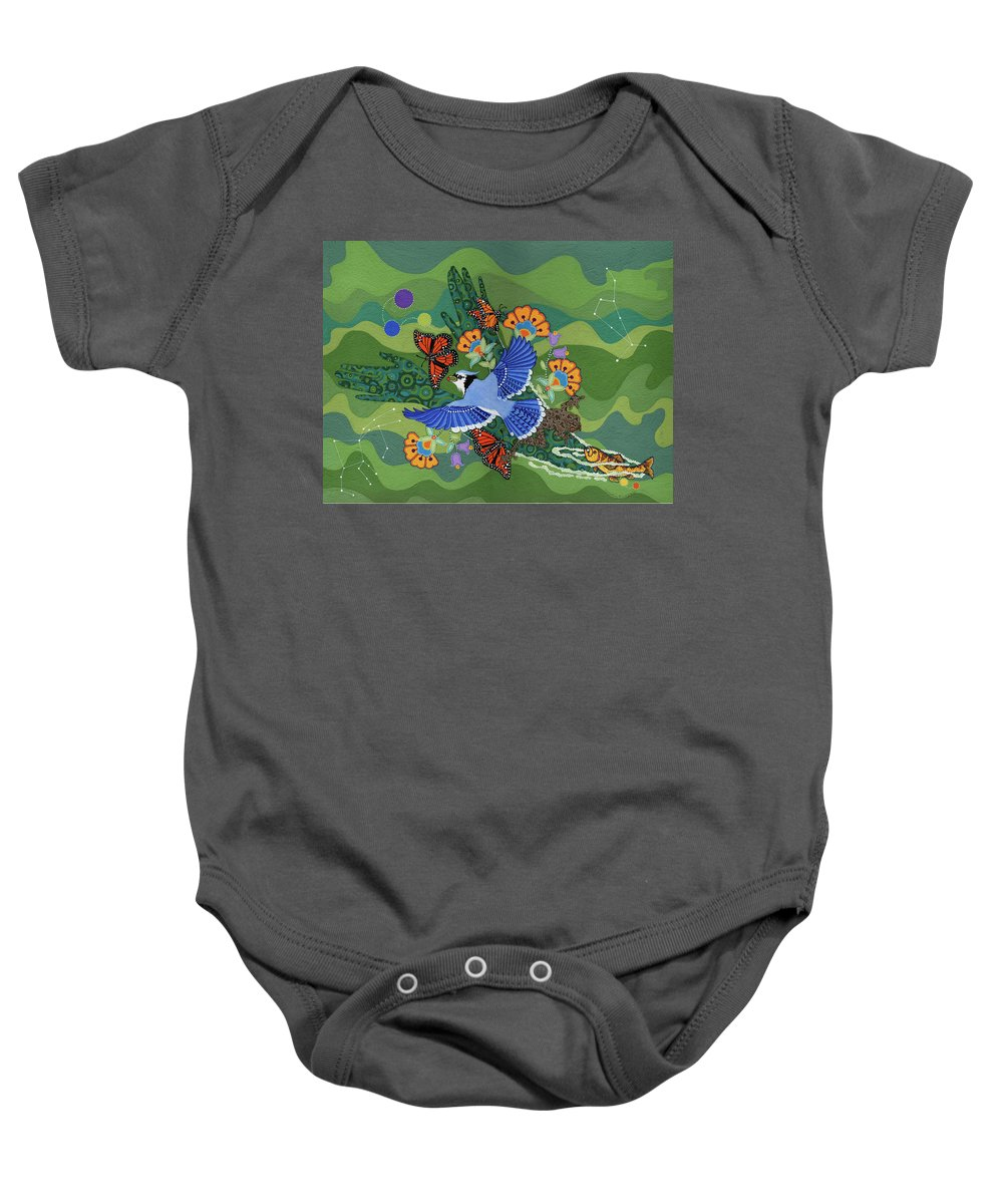 Water Baby Onesie featuring the painting We Are One by Chholing Taha