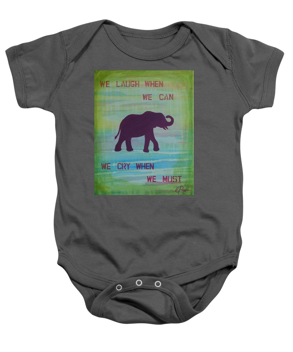 Elephant Baby Onesie featuring the painting We Laugh, We Cry by Emily Page