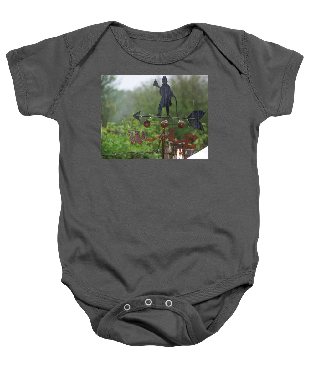 Digital Photography Baby Onesie featuring the photograph Weather Vane In The Rain by Laurie Kidd