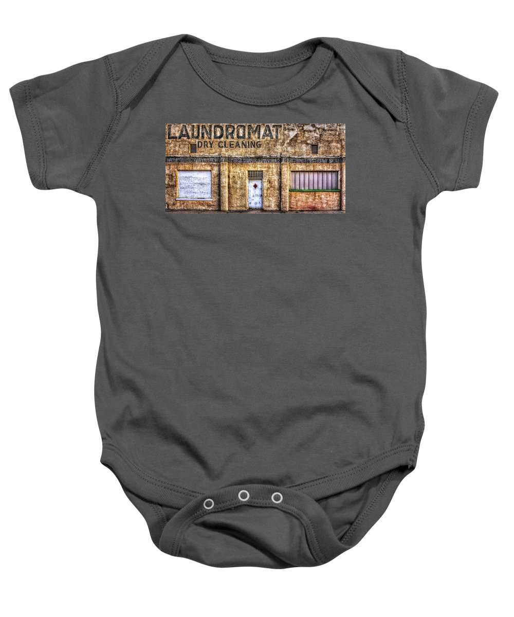 Old Structure Baby Onesie featuring the photograph Weathered And Worn by Steve Sullivan